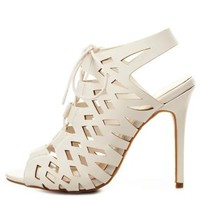 Peep Toe Cut-Out Lace-Up Heels by Charlotte Russe