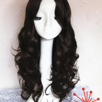 Dark Brown 80cm Long Wavy Wig for Daily Use, 2015 New Arrival Modern Hairstyle Wig UF094