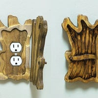 Old Tree Wood Fairy- Elf- Halfling Door Outlet Cover Decorative Lightswitch plate Home Decor Novelty Fantasy Woodworking Collectible Accent