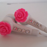 Cute Petite Hot Pink with a frosting of glitter Rose Earbuds with Swarovski  crystals