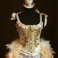 OLYMPIAN White and Gold Burlesque Corset Costume by olgaitaly