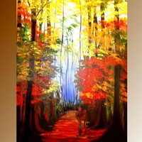 ORIGINAL Modern Abstract oil/acrylic painting Woodland by artmod