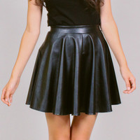 Black vegan leather skater skirt