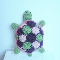 Plush Crochet Turtle Softy Animal Toy in pink, green and purple, MADE TO ORDER.