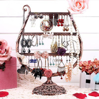 Vintage Winegrass Shape Jewelry Holder For 27 Pairs Earrings,54 Necklaces,Earrings Organizer,Jewelry Stand- Organize Earrings,Multi-Tiers