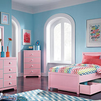 Emma Pink Twin Size Panel Bed
