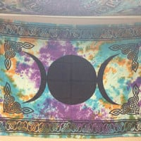 Triple Moon Tie Dye Tapestry Wall Hanging Bedspread
