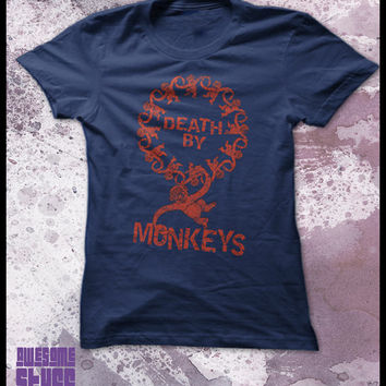 Death By Monkeys T-Shirt by purplecactusdesign