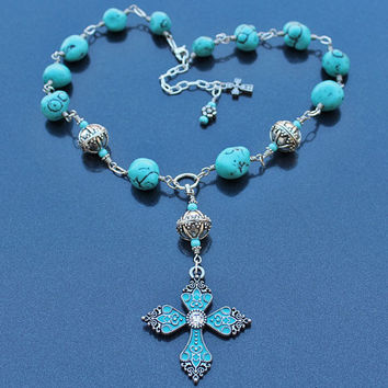 Turquoise Cross Necklace, Turquoise and Silver Bali Beads, Cross Pendant, Turquoise Jewelry, Christian Necklace, Christmas Gift