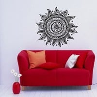 Lotus Flower Patterns Art Indian Design Wall Vinyl Decal Art Sticker Home Modern Stylish Interior Decor for Any Room Smooth and Flat Surfaces Housewares Murals Graphic Bedroom Living Room (2339)