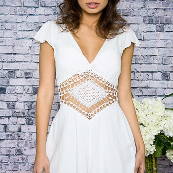 Our Time White Crochet Playsuit