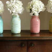 Hand Painted and Distressed Shabby Chic Mason Jar by BeachBlues