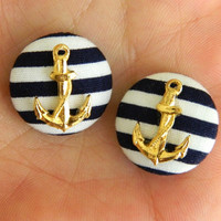 Button Earrings Navy Blue Stripes Gold Anchor Nautical