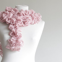 Women knit ruffled scarf, soft pink, rose, spring accessories, long scarf, lariat scarf