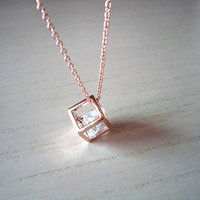 rose gold necklace Square  necklace sweet by Viviens on Etsy