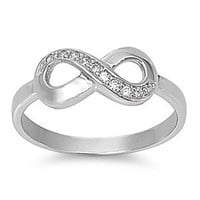 FBAS-0005 Sterling Silver Infinity Ring With CZ; Comes With Free Gift Box (5)