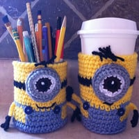 Minion Cup Cozy crocheted