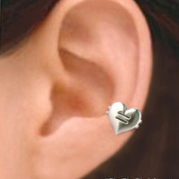 925 Equal Love Heart  Sterling silver ear cuff by RingRingRing