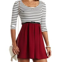 Striped Skater Dress with Belt by Charlotte Russe - Burgundy Cmb
