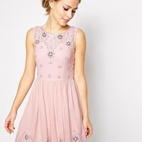 Frock and Frill | Frock and Frill Sleeveless Mini Skater Dress with Embellishment at ASOS