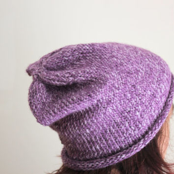 Spring Knit Beanie, Purple Hat, Boho, Hipster, Colorful, Summer, Urban