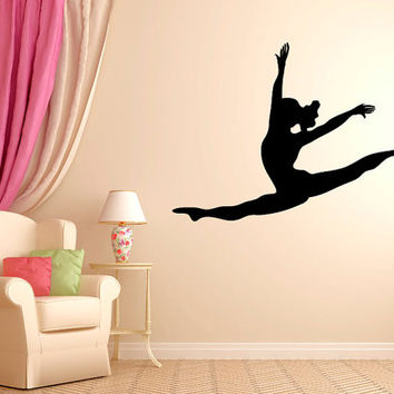 """Leaping Dancer Wall Decal Vinyl Sticker Dance Studio Bedroom Wall Home Decor Sizes from 22"""" to 50"""" tall"""