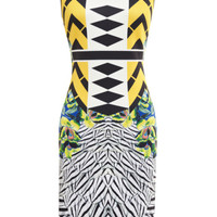 Clover Canyon Toucan Embellished Printed Neoprene Dress Yellow