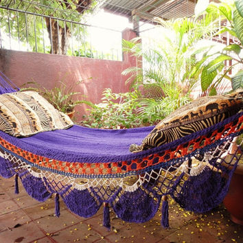 Violet Hammock Hand Woven Natural Cotton with Special by hamanica