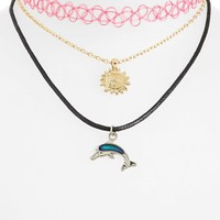 Women's Topshop Charm Necklace - Pink Multi (3-Pack)