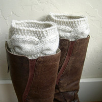 Cream Boot cuffs - Fashion Beige Leg Warmers - Cable knit boot toppers  - Spring 2013 - Chunky - Legwear - WINTER SALE