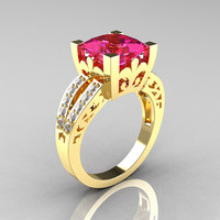 French Vintage 14K Yellow Gold 3.8 Carat Princess Pink Sapphire Diamond Solitaire Ring R222-YGDPS