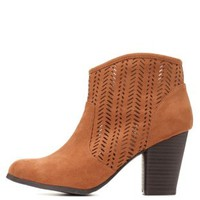 Qupid Perforated Chunky Heel Booties by Charlotte Russe