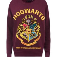 Burgundy Harry Potter Hogwarts Print Jumper
