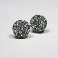 Silver Druzy Stud Earrings Metallic Circle Round Small Bold Genuine Titanium Drusy Quartz Gemstone Jewelry for Women Sterling Silver Posts