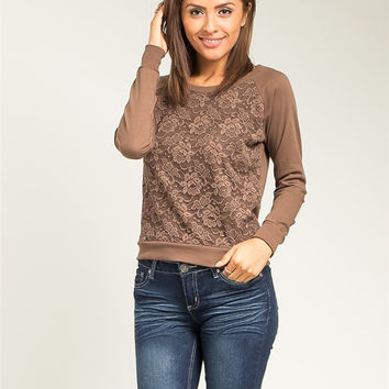 Mocha and Lace Brown Sweater