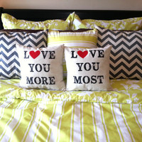 """PAIR of Valentine's Day """"Love You More & Most"""" Pillows"""