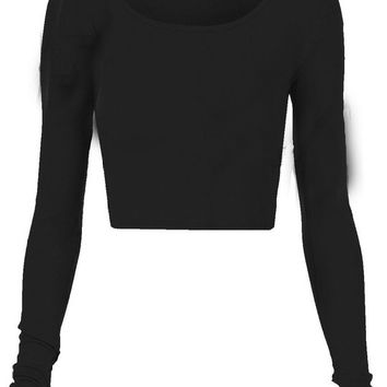 Fashion Womens Long Sleeve Crop Top Round Neck T Shirt Blouse (S, Black)