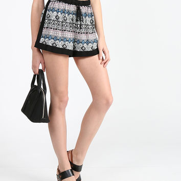 Printed and Bordered Lounge Shorts