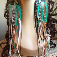 13 inch Feather Earrings Long Natural Turquoise Hippie Goddess Big and Full Feather Jewelry Holiday Sale