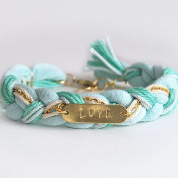Love bracelet, mint braided bracelet, friendship bracelet, hand stamped bracelet