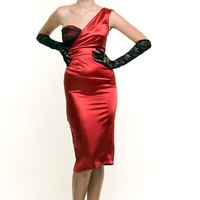 Stop Staring! 1940s Style Red Lovespell One Shoulder Dress