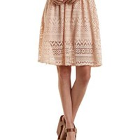 Peach Geometric Lace Skater Skirt by Charlotte Russe
