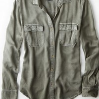 AEO Women's Military Button Down Shirt (Olive)