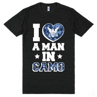 I Love a Man in Camo (Navy)-Unisex Athletic Black T-Shirt