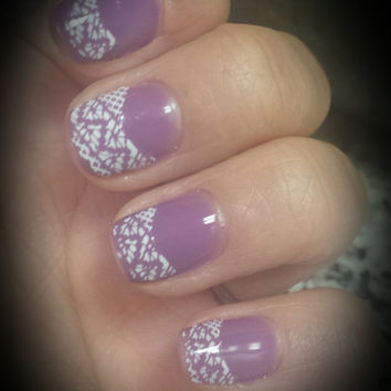 2 sheets of white lace french tip, lace nail stickers, lace nails