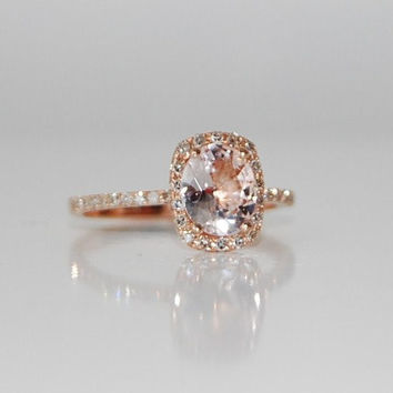 2ct Cushion ice peach champagne sapphire in 14k rose gold diamond ring engagement ring