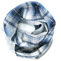 Double sided Scarf Plaid Scarf Striped Scarf Circle Scarf Eternity Scarf Navy Blue White Light Blue Teen Scarf Spring Scarf Ready To Ship