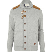 River Island MensGrey quilted duffle sweat jacket