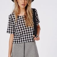 Missguided - Monochrome Gingham Shell Top