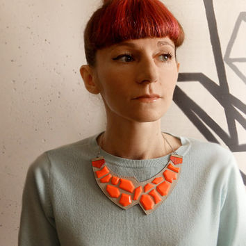 Geometric Leather Necklace neon orange and grey